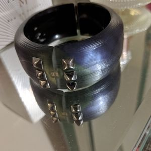 Alexis Bittar Vintage Hand Crafted Plaid Stud Cuff